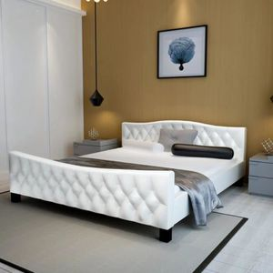 STRUCTURE DE LIT Cadre de lit Cuir artificiel 140 x 200 cm Blanc