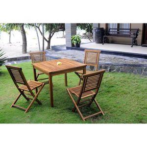 SALON DE JARDIN  Ensemble de jardin table carrée et 4 chaises plian