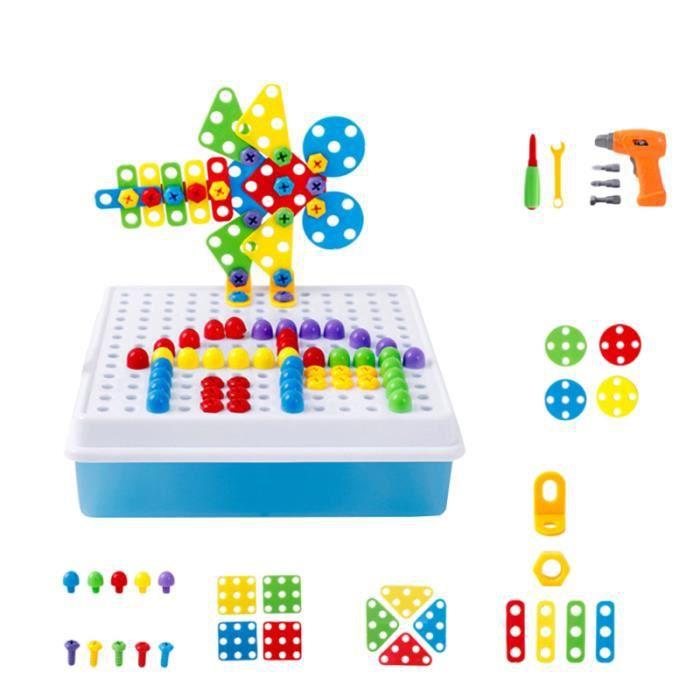 Blocs de construction 193pcs perceuse Électrique bricolage vis jouet outil kit en plastique jigsaw mosaïque conception