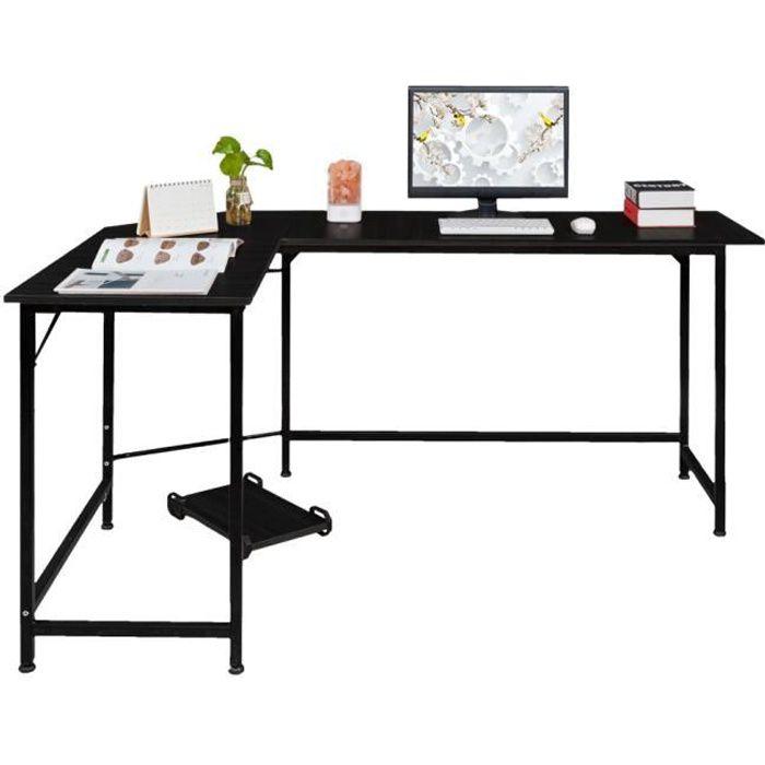 Table d'angle en Bois et Acier Noir, Table Informatique pour Maison et Bureau 68 x 120 x 72cm Noir