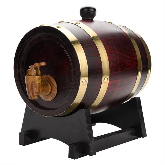 RIN 1,5 L Tonneau de Vin en Bois de Chêne Rétro Stockage de Vins Pratique Durable