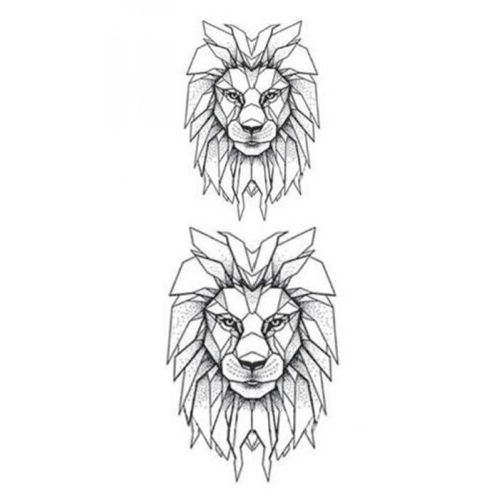 Tatouage Temporaire, SF3567,Lion imperméable faux Tatoo animaux dessin animé bras main épaule garçons hommes corps Art maquillage