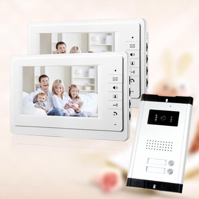 7 -Vidéo Interphone Sonntte de Porte d'Appartement Phone System 2 blanc Moniteur Caméra HD 1 pour 2 ménages/Nocturne
