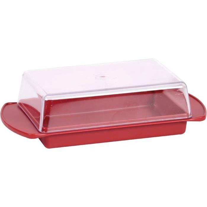 Beurrier en plastique - rouge rubis et transparent