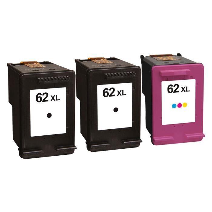 Packs 3 cartouches pour HP 62XL 2 x Noire et 1 x Couleur Compatible Envy 5644