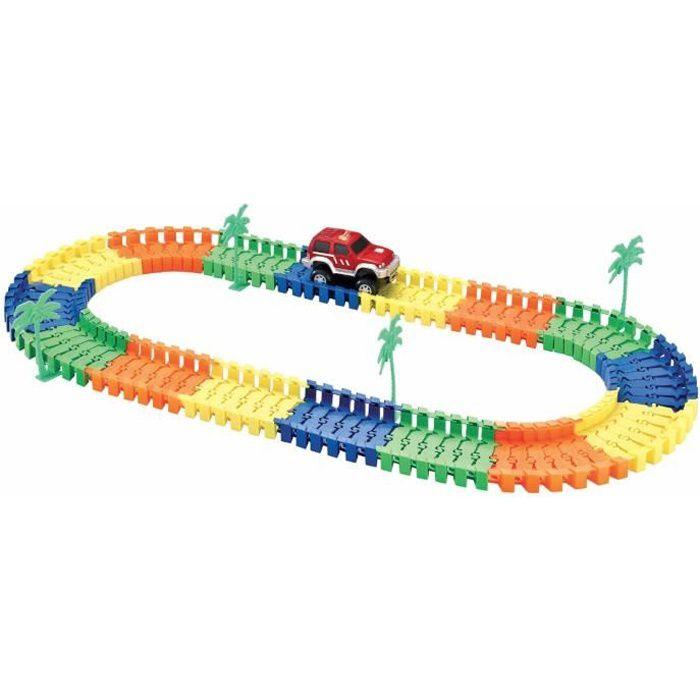 PIFUN Circuit flexible Action - 96 rails + 1 voiture + 4 palmiers / Stickers