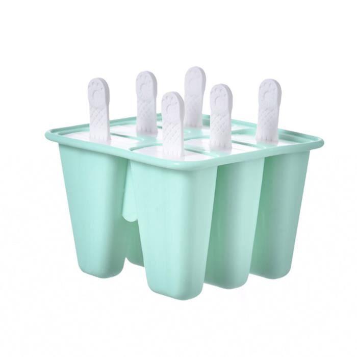 Silicone 6 trous Popsicle Mold Moules à glace Moules classiques Plateaux Réutilisables - Return 722