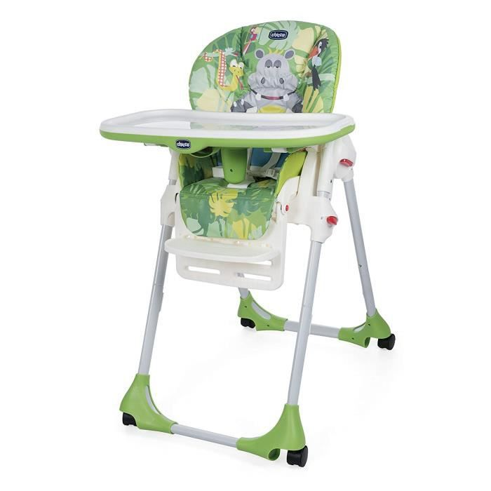 Chicco Polly Easy Chaise Haute avec 4 Roues Happy Jungle
