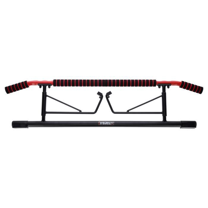 HMSPORT - Barre de traction de musculation - Pull up barre - Entraînement musculation fitness cardio - Charge maximale 200 kg - Noir
