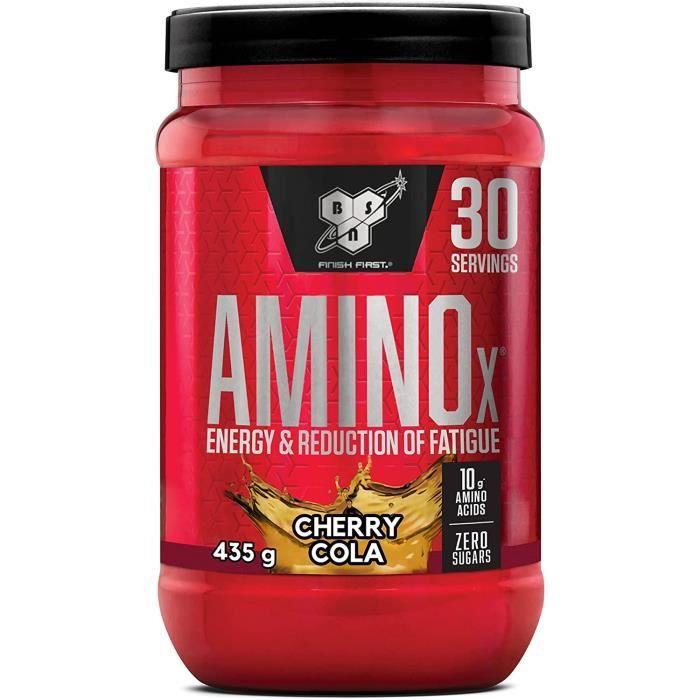 nutrition amino x, bcaa poudre, complement alimentaire avec vitamine d et acides aminés, saveur cola cerise, 30 portions, 435 421
