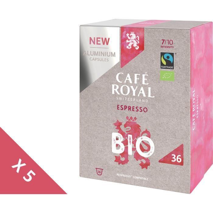 [Lot de 5] CAFE ROYAL Café compatible Nespresso Alu Espresso Bio x36