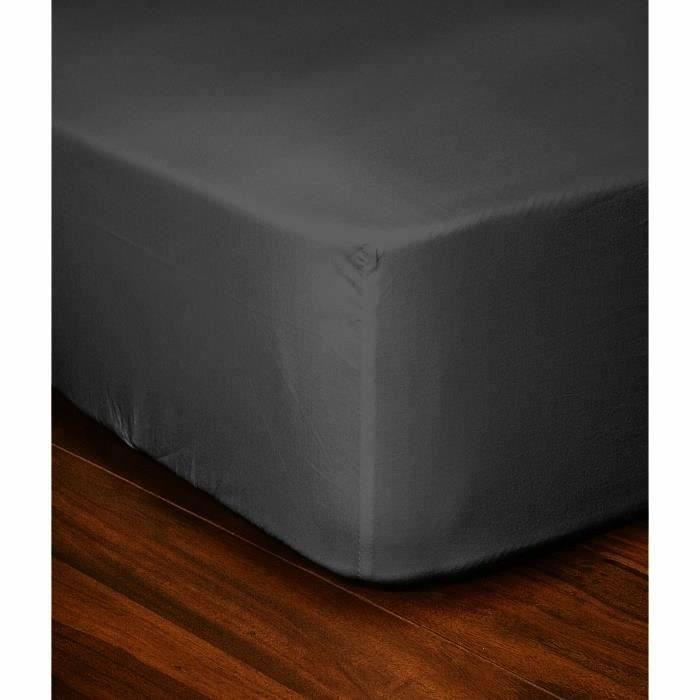 LOVELY HOME Drap Housse 100% coton 90x190x30 cm gris foncé