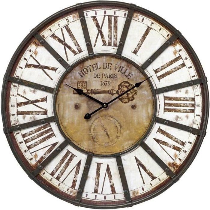 CEANOTHE Horloge Charme industriel 60 cm