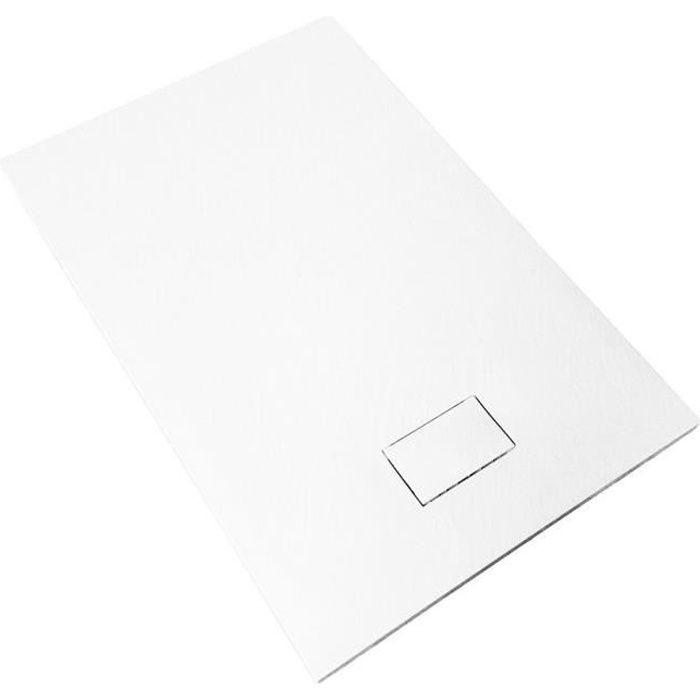 Receveur de douche extra plat PIATTO en SoliCast® 90x120 surface ardoisée, blanc Blanc