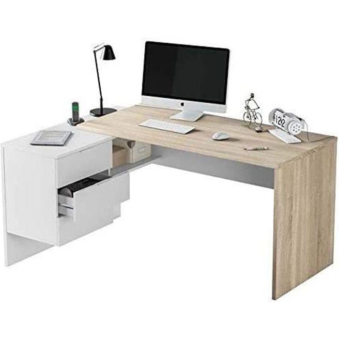 Bureau Angle avec Caisson 3 tiroirs Couleur Bois et Blanc. Sens modulable