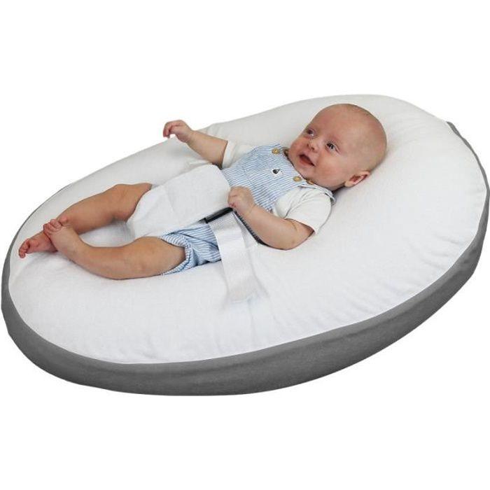 Drap housse réversible pour coussin d'allaitement et de grossesse 180 cm - Gris et blanc