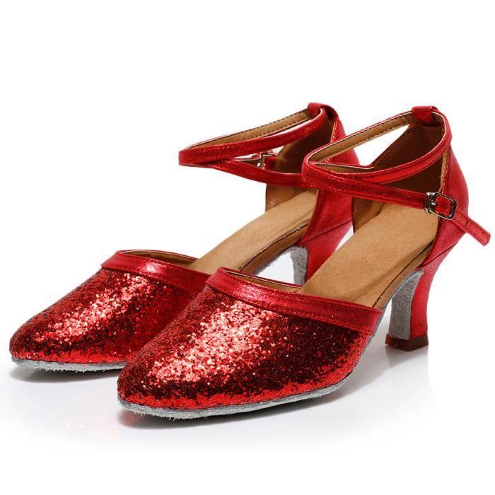 Femmes Mode Waltz Modern Dance Salle de bal Chaussures de danse latine doux Sandales fond rouge