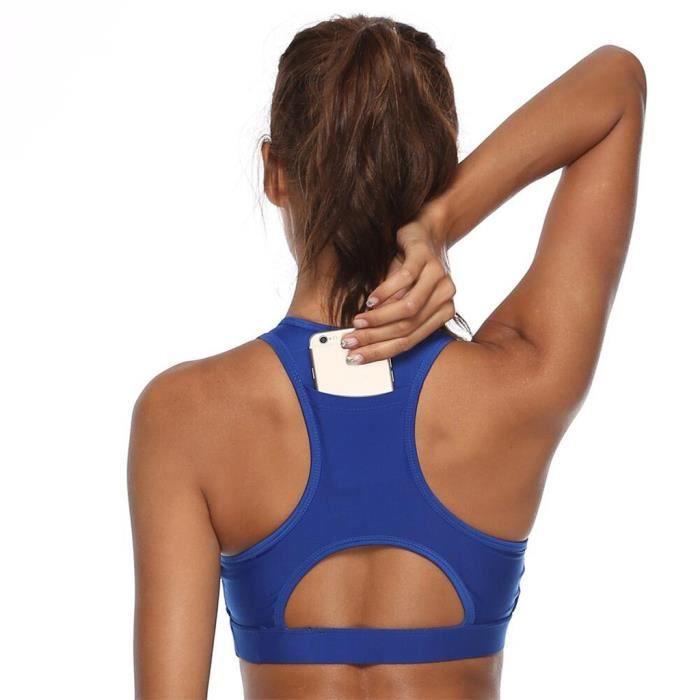 Femmes Solid Sport Bra Back Pocket Running Yoga Bras Rembourré High I mpact Workout YXQ90906682BUXS_ion