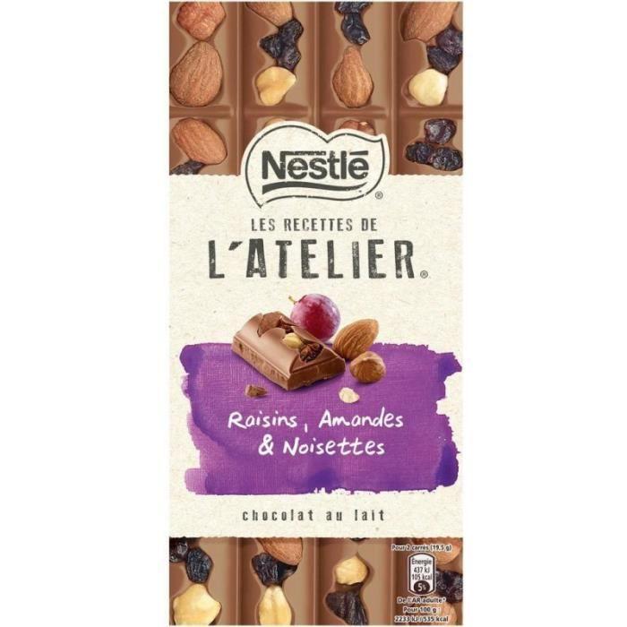 Nestlé Les Recettes de l'Atelier Raisins Amandes & Noisettes Chocolat au Lait 195g (lot de 10)