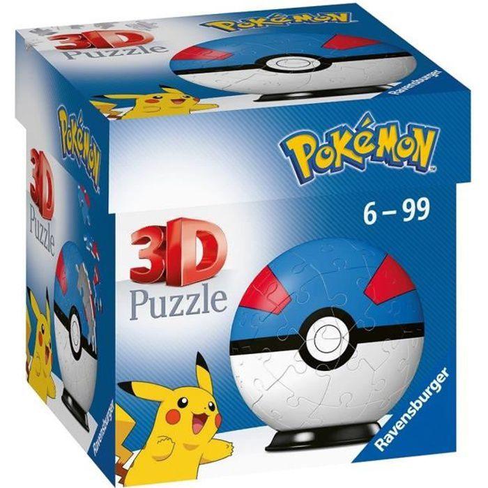 POKÉMON Puzzles 3D Ball 54 pièces - Super Ball - Ravensburger - Puzzle enfant 3D sans colle - Dès 6 ans