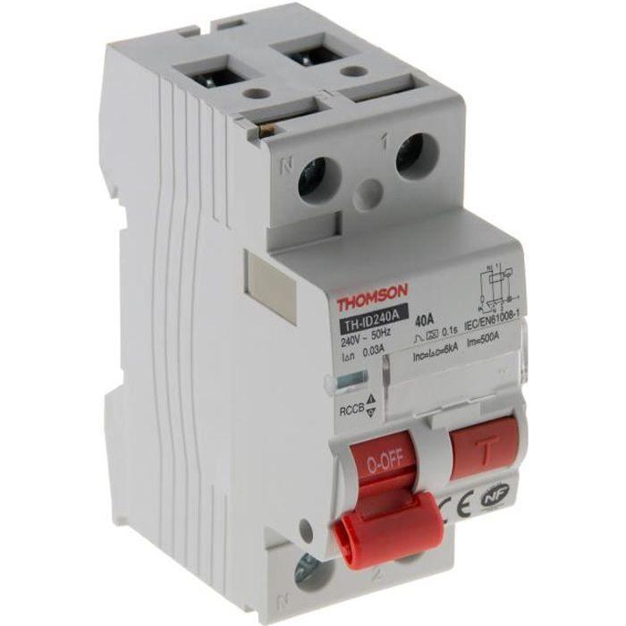 Interrupteur différentiel à vis 30mA type A 40A NF