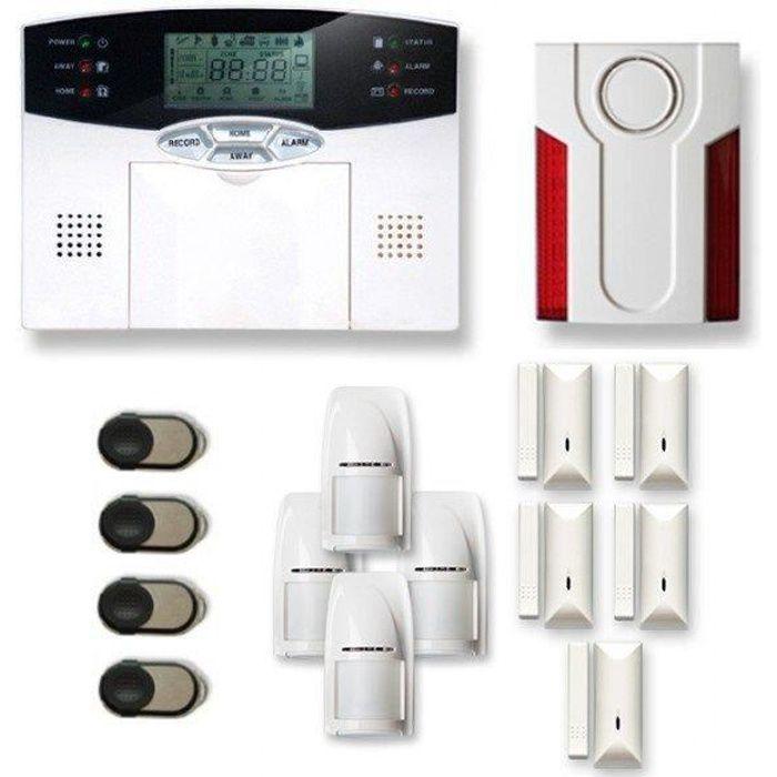 Alarme maison sans fil 4 à 5 pièces MN mouvement + intrusion + sirène extérieure - Compatible Box