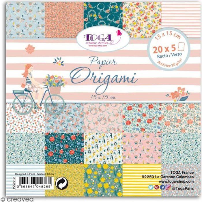 Papier Origami Recto/verso - Oh La La - 15 x 15 cm - 100 feuilles