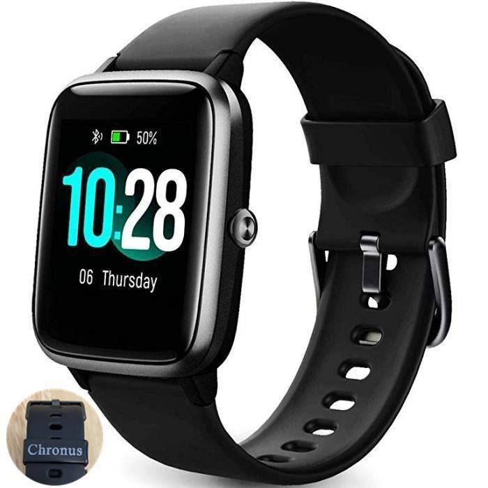 Montre Connectée Femmes Homme Smartwatch Vibrante pour Appel SMS Message Montre Intelligente Cardio Etanche IP68 Montre Sport Podome