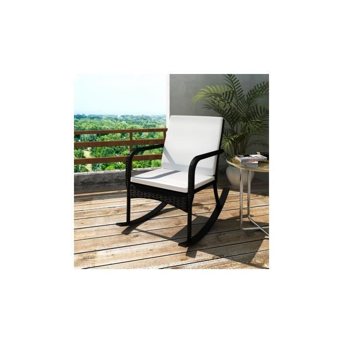 rocking chair fauteuil bascule en rotin noir achat vente fauteuil rotin r sine. Black Bedroom Furniture Sets. Home Design Ideas