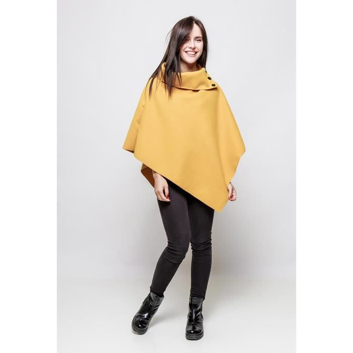cape manteau poncho veste femme polaire hiver moutarde moutarde achat vente poncho. Black Bedroom Furniture Sets. Home Design Ideas
