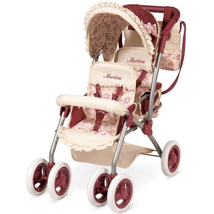 Landau poussette double pour poupée jumeaux pliable roues