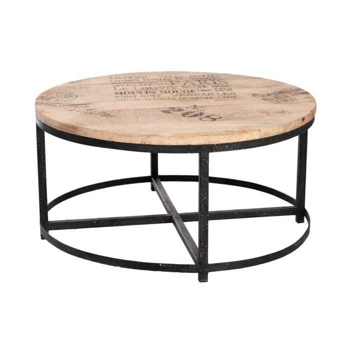 table basse ronde en bois et pieds m tal coloris bois achat vente table basse table basse. Black Bedroom Furniture Sets. Home Design Ideas
