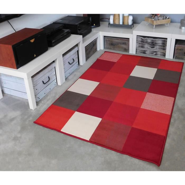 Tapis Salon DESIGN Carrés Rouge Blanc Marron DEBONSOL   120x170cm
