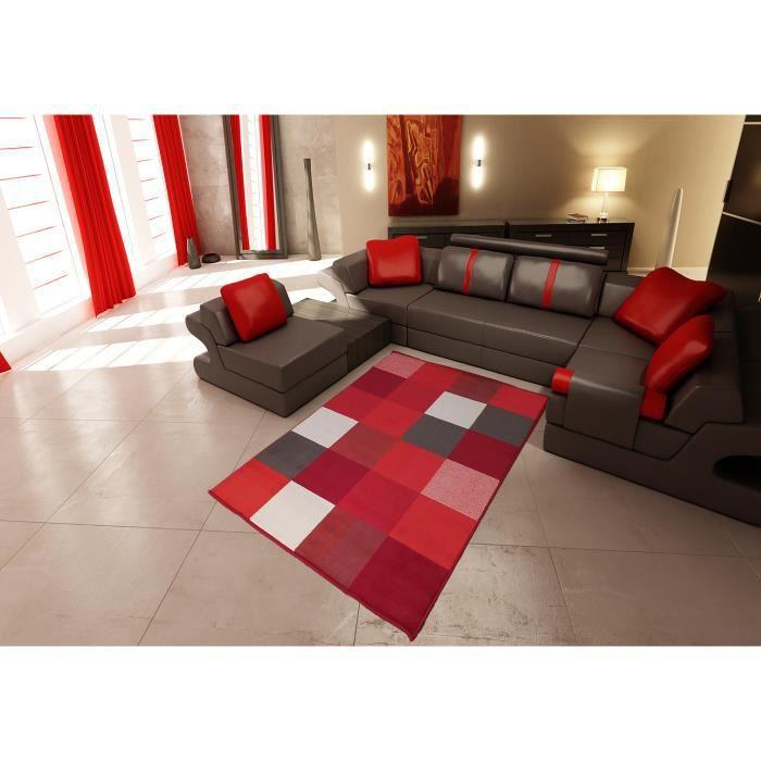 Tapis salon MODERNE DESIGN carrés rouge blanc marron DEBONSOL - 120x170cm