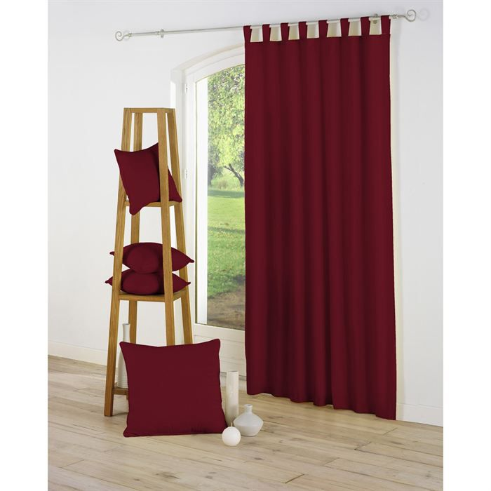 rideau passants 140x260 essentiel bordeaux achat vente rideau voilage cdiscount. Black Bedroom Furniture Sets. Home Design Ideas