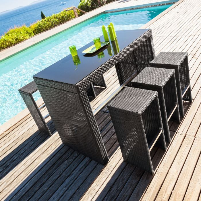 Table haute 6 tabourets tinos ratan achat vente for Table haute 6 couverts
