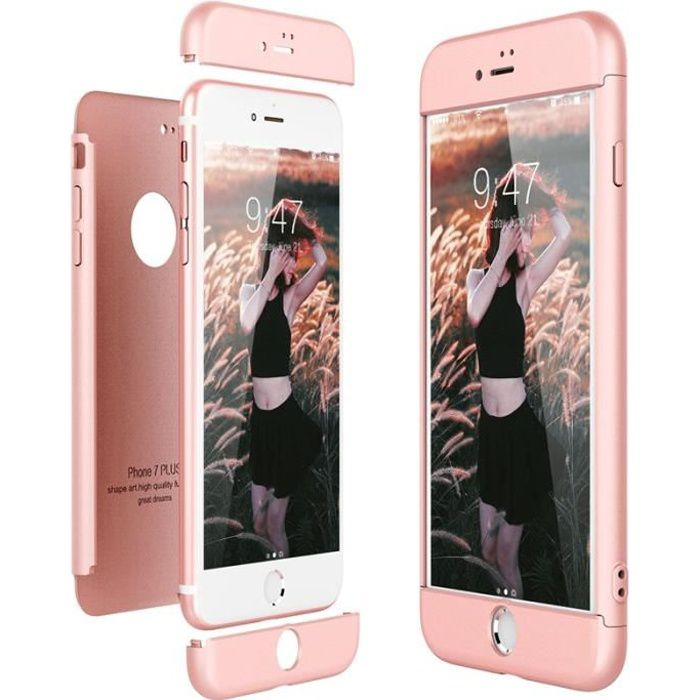 coque iphone 7 plus cas dur pc 3 en 1 ultra mince