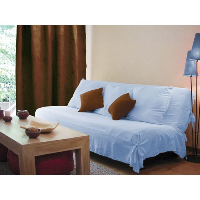 housse clic clac danube bleu suedine achat vente. Black Bedroom Furniture Sets. Home Design Ideas
