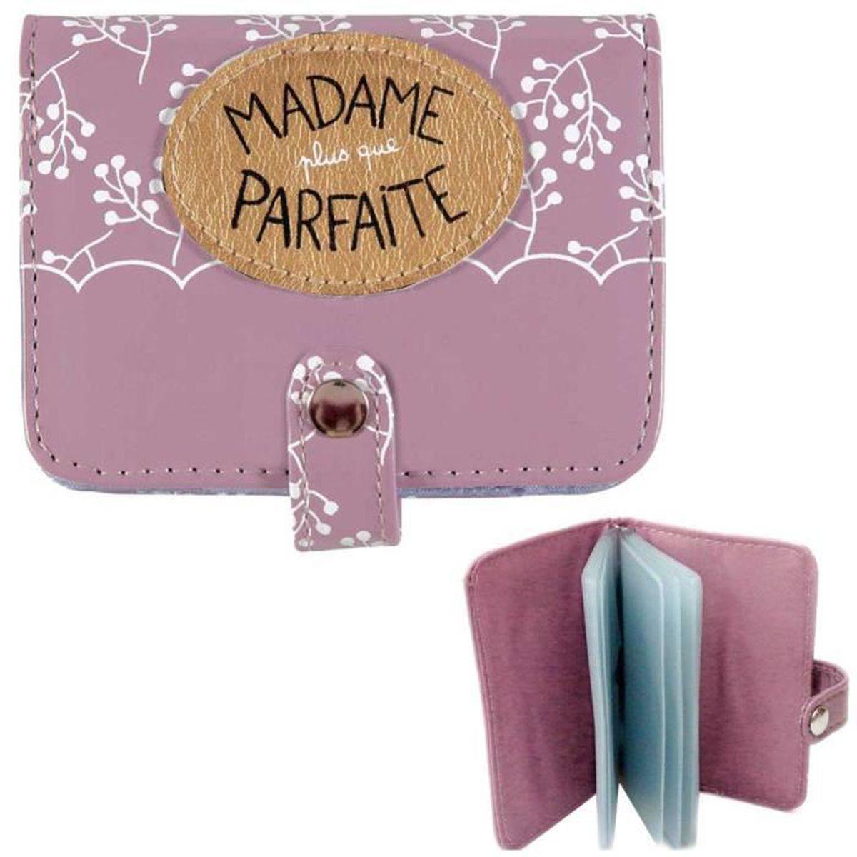 porte carte femme original Porte Carte de Fidélité MADAME PARFAITE Rose   Étui Cartes Crédit