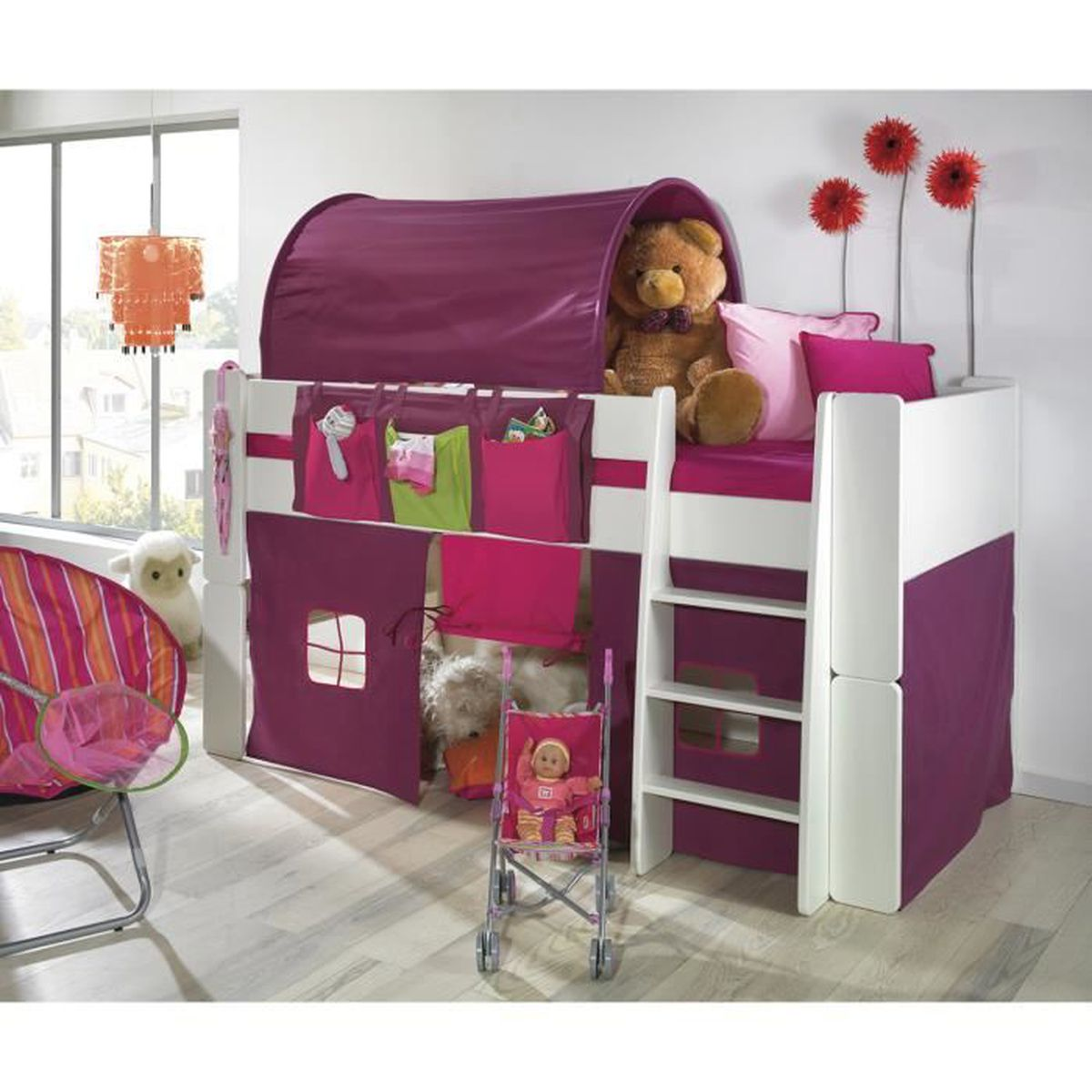 lit mi hauteur en pin blanchi avec habillage de lit et tunnel rose violet achat vente lit. Black Bedroom Furniture Sets. Home Design Ideas
