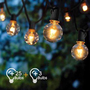 MYCARBON Ext/érieur Guirlande Guinguette LED Guirlande Lumineuse 12,5m 36 Ampoules IP44 Etanche 4 Ampoule de Rechange 2200K pour No/ël F/ête Mariage Soir/ée D/écoration Int/érieure Ext/érieure Chambre Jardin