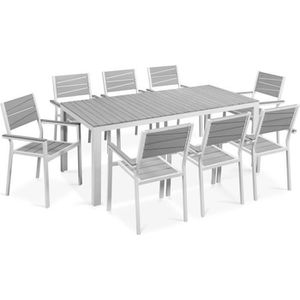 Salon de jardin 10 places en aluminium et composite : 1 table ...