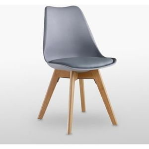 CHAISE Chaise Lorenzo Style Scandinave Grise