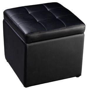 Coffre De Rangement Noir Cuir
