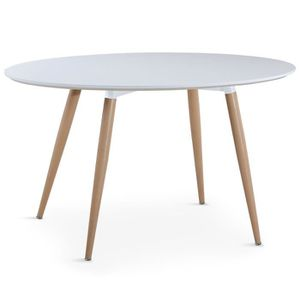 TABLE À MANGER SEULE Table ovale scandinave Sissi Blanc