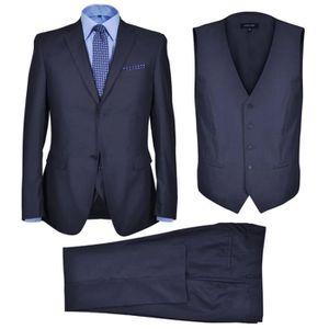 Homme Double-Boutonnage 3pcs Rayures costumes Bleu Marine Formelle Groom bureaux smokings