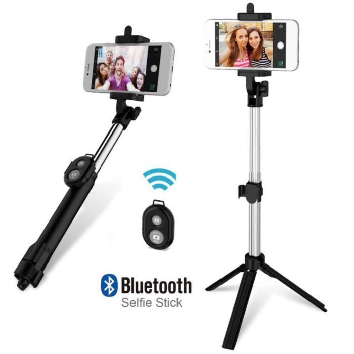 Perche Selfie avec Trepied pour IPHONE 11 Smartphone Bluetooth Sans Fil Selfie Stick IOS Reglable Telecommande Photo (NOIR)