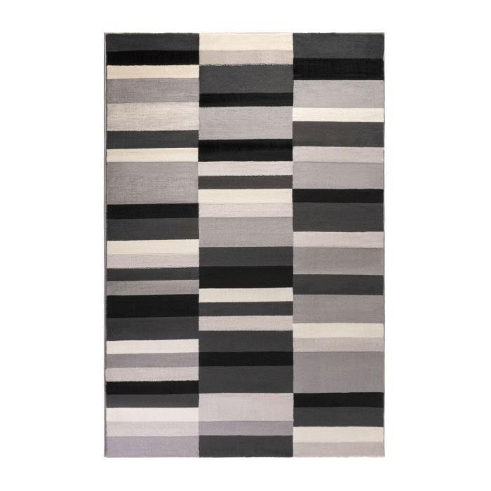 KARL Tapis de salon contemporain - 150x200 cm - Noir, gris et blanc