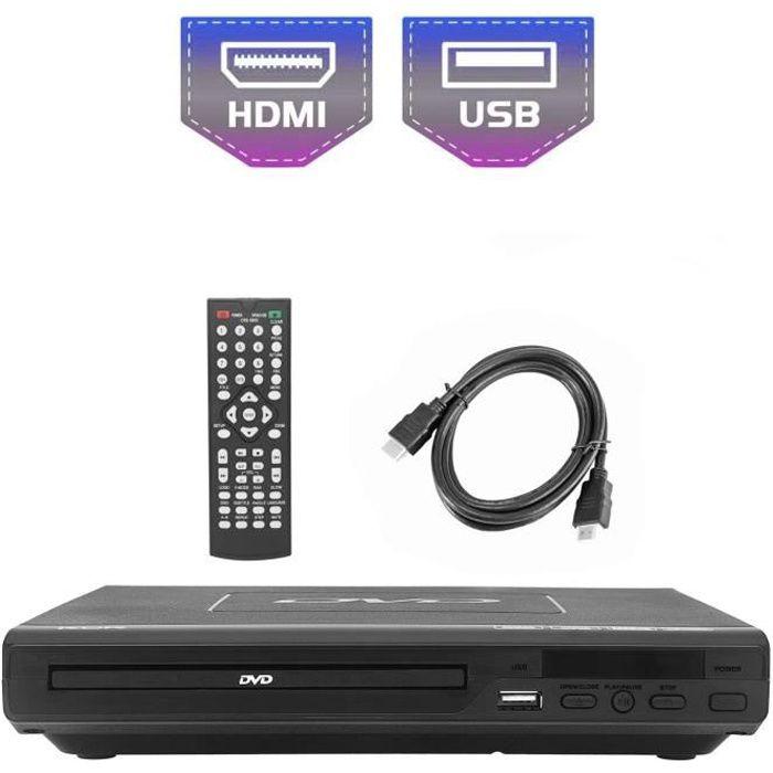 Lecteur DVD pour TV, DVD / CD / MP3 / MP4 avec Prise USB, Sortie HDMI et AV (câble HDMI et AV Inclus), télécommande (sans Blu-Ray) C
