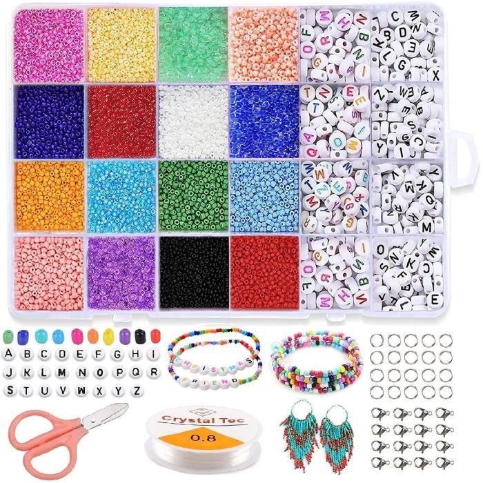 Perles pour Bijoux,Perles Plates pour Bracelet 7040pcs Perles Heishi Perles de Rocaille,Fabrication Bijoux Enfant Accessoire de Mode
